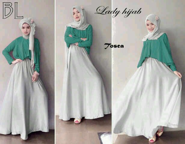 Lady Hijaber set tosca @118 dress lengan buntung + atsan (luaran) + pasmina, bahan jersey super (tebal), fit to L