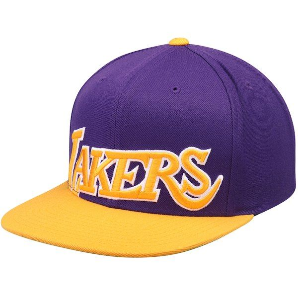 25c8e4ce9690 Men s Los Angeles Lakers Mitchell   Ness Gold Purple Hardwood Classics  Cropped XL Logo Snapback