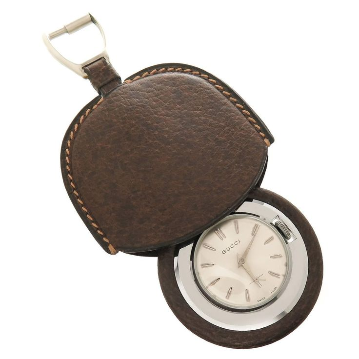 Gucci Stainless Steel Leather Pocket Purse Watch  | From a unique collection of vintage pocket watches at https://www.1stdibs.com/jewelry/watches/pocket-watches/