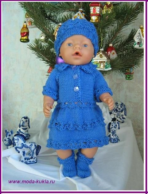 "Вяжем платье, шапочку и носочки на куклу BABY BORN с узором ""паучки"""