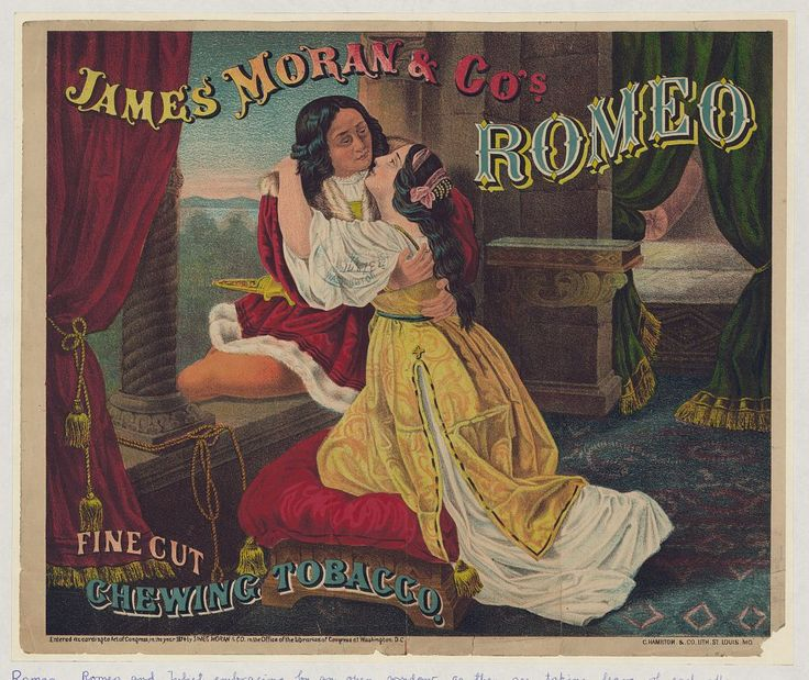 James Moran & Co.'s Romeo fine cut chewing tobacco ad from 1874.
