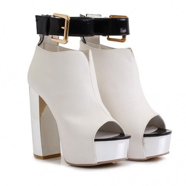 AllhqFashion Womens PU High Heel Platform Chunky Heels Pumps Open Peep... found on Polyvore featuring shoes, pumps, heels, thick heel platform pumps, thick-heel pumps, peeptoe pumps, heels & pumps and wide heel pumps