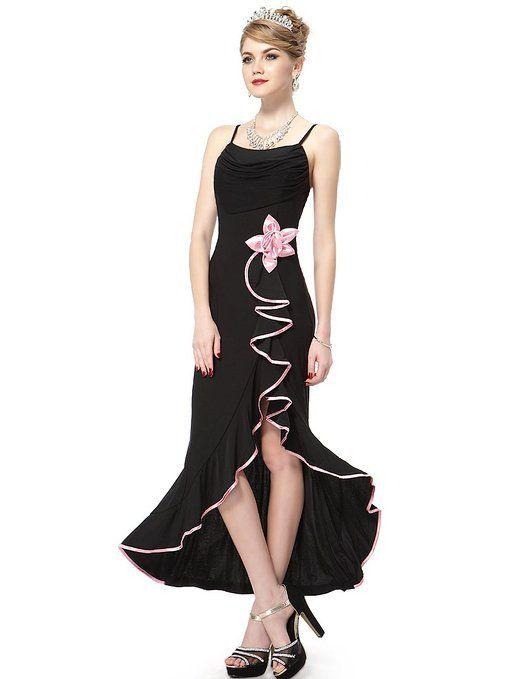Ever Pretty Fab Stretchy Spaghetti Straps Falbala Flower Formal Gown