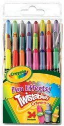 Crayola Twistables Fun Effects Crayons 24/Pkg-Neon Metallics Rainbow; 2 Items/Order by Crayola. $13.98. Dimensions: 7.25 in. H x 3.35 in. W x 1.25 in. D. Weight: 0.41 ounces. Made in CN. CRAYOLA-Twistables Fun Effects Crayons. Give your creativity a boost with fun effects like neon; metallic; and rainbow! Twistables crayons feature break-resistant plastic casing and never need sharpening-just twist and color! This package contains eight neon crayons; eight metallic cray...