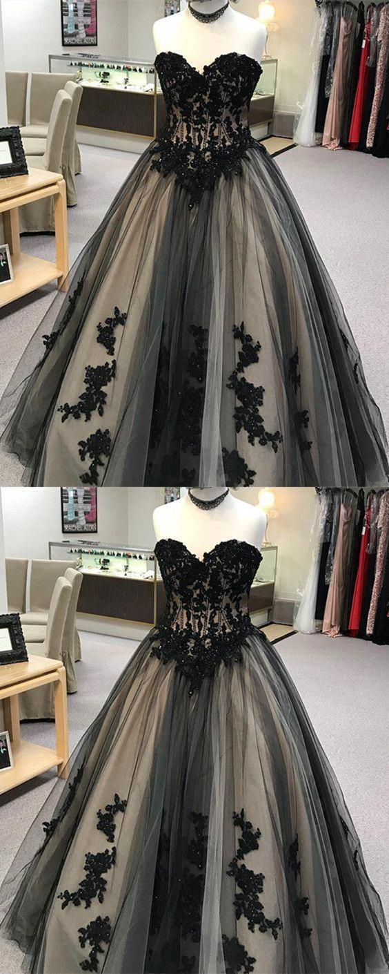 black lace embroidery sweetheart tulle ball gowns quinceanera