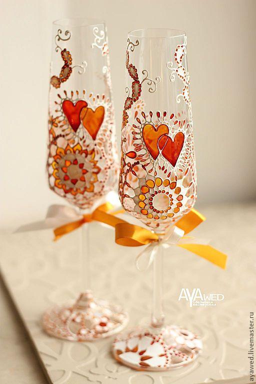 """Купить Свадебные бокалы """"Оранжевые сердца"""" - свадебные бокалы, свадебные аксессуары, подарок на свадьбу"""