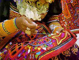 "San Blas Islands, Panama -- Kuna Indian woman creating a ""mola"""