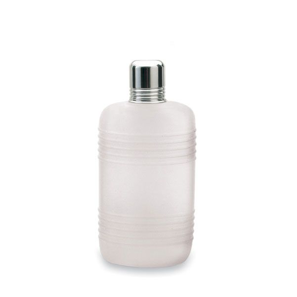 """Plastic Travel Flask with Chrome Cap - 10 oz.  These lightweight, durable beverage containers feature an airtight polished chrome cap atop a a sleek beveled plastic body. Capacity: 10 oz. Dimensions: 7 1/8"""" x 3 1/4"""" x 1"""""""