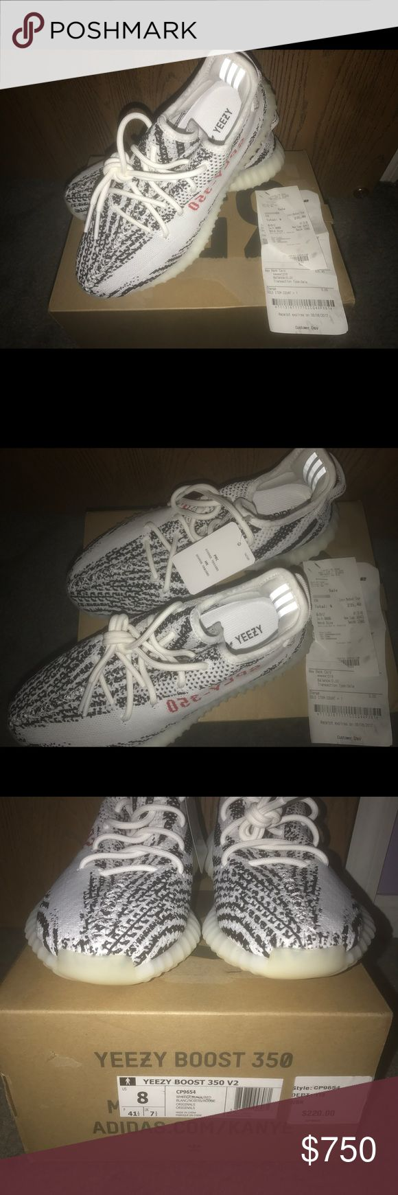 Yeezy Boost 350 V2 Zebra Size 8 BRAND NEW YEEZY BOOST 350 V2 ZEBRA SIZE 8!! I PURCHASED THEM THE MORNING THEY RELEASED FROM FINISH LINE! RECEIPT SHOWN IN PICTURES. THE BOX HAS BEEN DAMAGED BY TAPE SO THAT IS WHY THE BOX LOOKS ODD WHERE THE TAPE HAS BEEN REMOVED. PLEASE LET ME KNOW IF YOU HAVE ANY QUESTIONS! adidas Shoes Sneakers