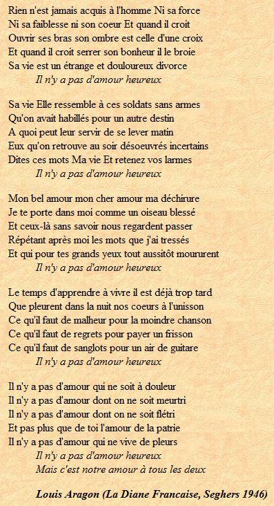 """Un poème de Louis Aragon (in """"La Diane Française"""", Seghers 1946)"""