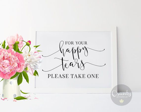 For Your Happy Tears, Wedding Signs, Tissue Sign, Wedding Signage, Ceremony Sign, Wedding Tissues Sign, Wedding Print, Happy Tears Sign