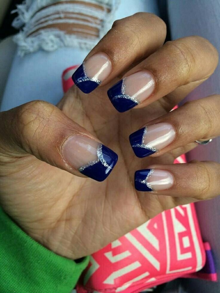 blue and silver (blue tips with silver lining and clear polish for ...