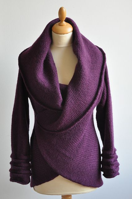 Love the drape of this purple sweater. Pattern can be found on