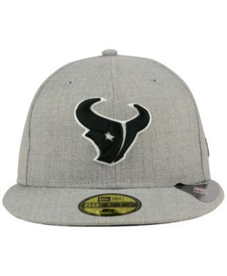 New Era Houston Texans Heather Black White 59FIFTY Fitted Cap - Gray 7 3/4