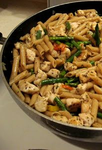 Chicken Penne Pasta with Asparagus