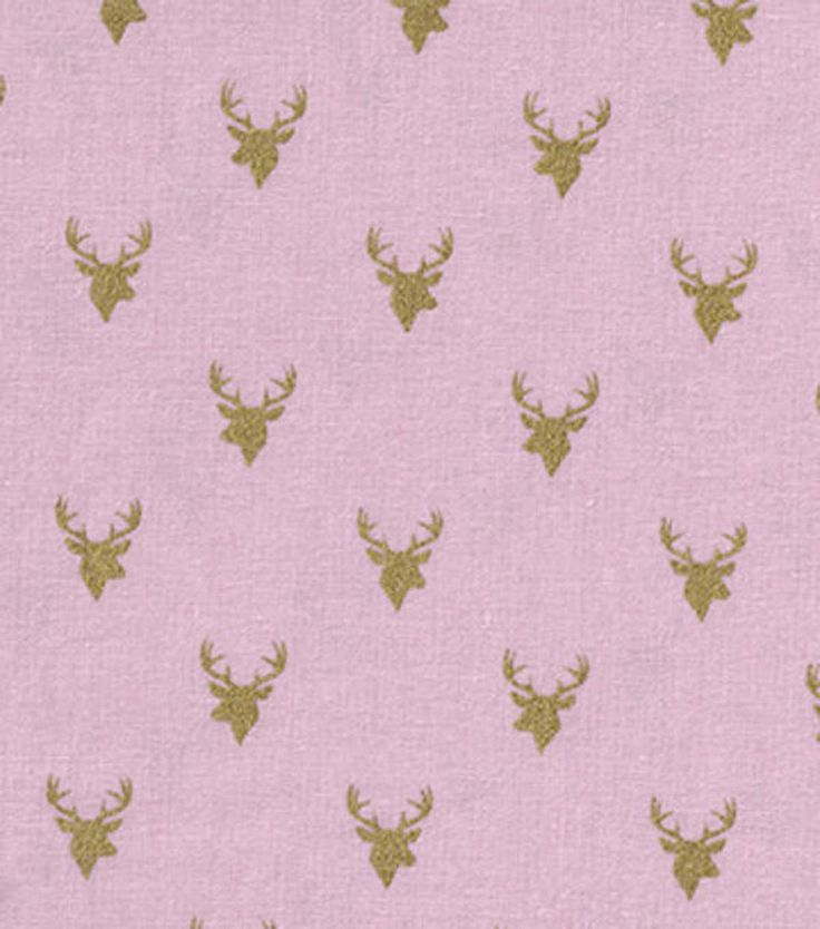 Keepsake Calico™ Cotton Fabric-Deer Heads On Pink With Gold Metallic