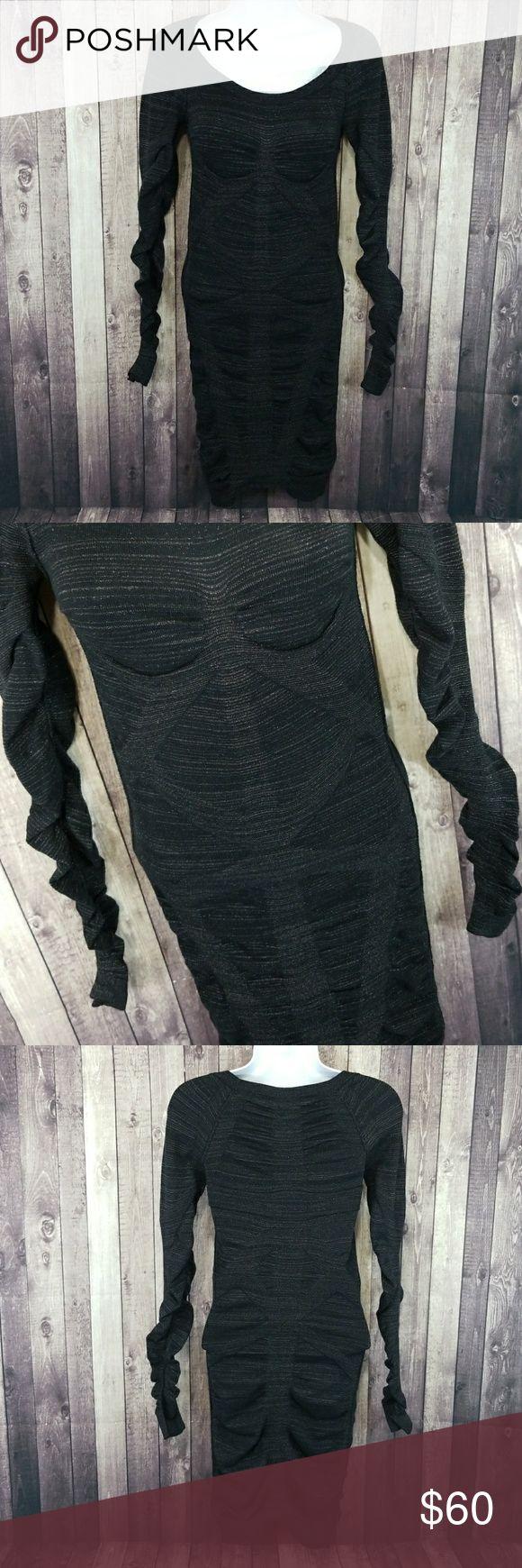 "All Saints Vikrama long sleeve bandage dress EUC All Saints black with silver metallic fibers throughout Vikrama body on bandage dress. Long sleeves. 69% cotton, 18% nylon, 11% polyester, 2% elastane. Lay flat measurements: approximately 12"" pit to pit, 35"" long. All Saints Dresses Long Sleeve"