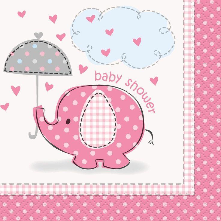 Umbrellaphants Pink Baby Shower Beverage Napkins (16)