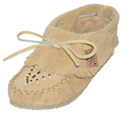 The tan suede Papoose is an original Native fringe style moccasin with a gum sole and suede laces, great for wearing inside or out. Beautifully hand beaded with