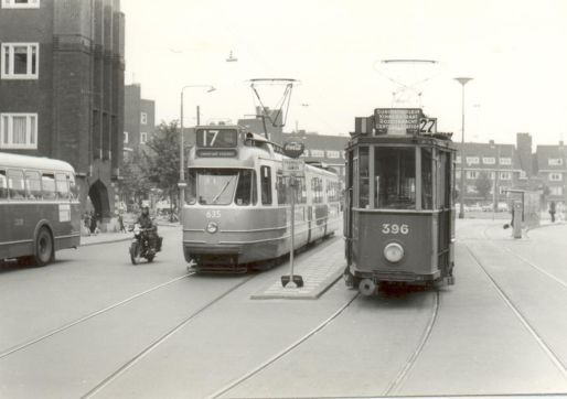 1963. Tramlijn 27 on the Hoofdweg in Amsterdam-West. Tramlijn 27 was established in 1962 as rush hour reinforcement tram for tramlijn 17 for the route Surinameplein - Kinkerstraat - Rozengracht - Centraal Station. In the evening rush hour passengers could not exit tramlijn 27 at the stops on the section Central Station - Postjesweg/Hoofdweg of this route. Passengers that needed to exit on those stops had to take tramlijn 27. #amsterdam #1963 #Hoofdweg