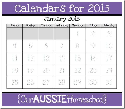 Calendars for 2015   Our Aussie Homeschool I know some of you are creating calendars for the 2014/2015 academic year, so I've put all of those in one file to make it easier for you.  There are two download options: Calendars for Academic Year 2014/2015 (July 2014 to June 2015) Calendars for 2015 (the 2015 calendar year)