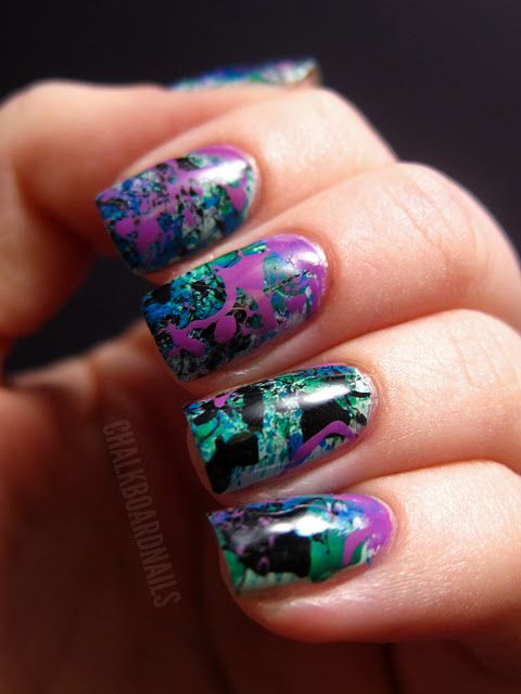 cool toned splatter nail art