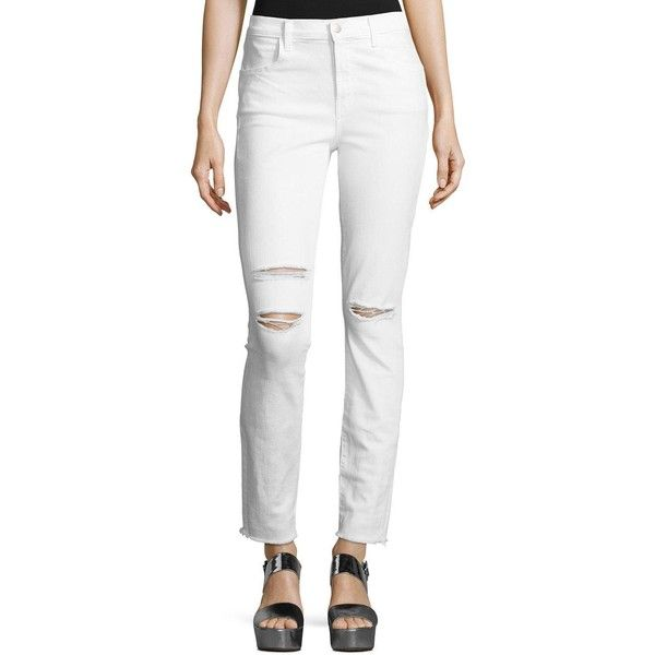 J Brand Maria High-Rise Distressed Skinny Jeans with Raw Hem ($198) ❤ liked on Polyvore featuring jeans, white, high waisted jeans, high waisted white skinny jeans, super skinny jeans, white high waisted jeans and white ripped skinny jeans