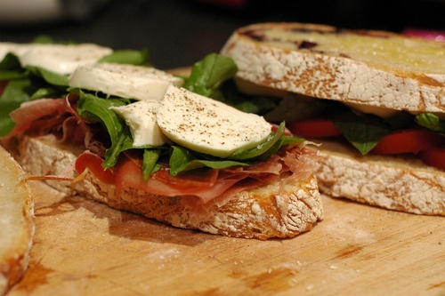 simple mozzarella and prosciutto sandwich