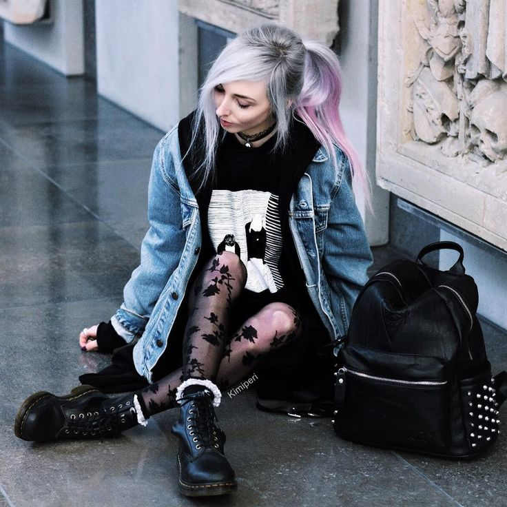 Denim jacket, black printed sweater, flower stockings and Dr Martens boots by kimiperi