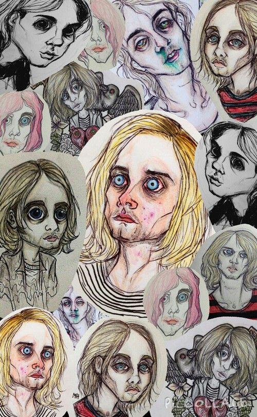 drawing and nirvana Kurt Cobain cutie