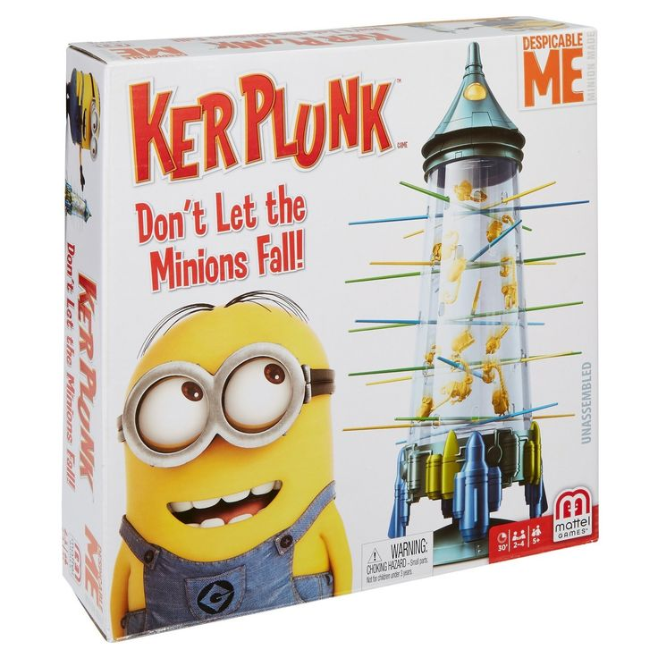 """KerPlunk Minions game is a beloved family favorite, now with a cool look and """"Despicable"""" attitude! First, pass the sticks through the holes of the Ray Gun Tower to form a web. Then 30 Minions—representing three different characters from the popular Despicable Me movie franchise—are positioned in the tower and held in place by the web. Just spin the top of the tower to determine which color stick is to be removed first, and the game is on! The object of the game ..."""