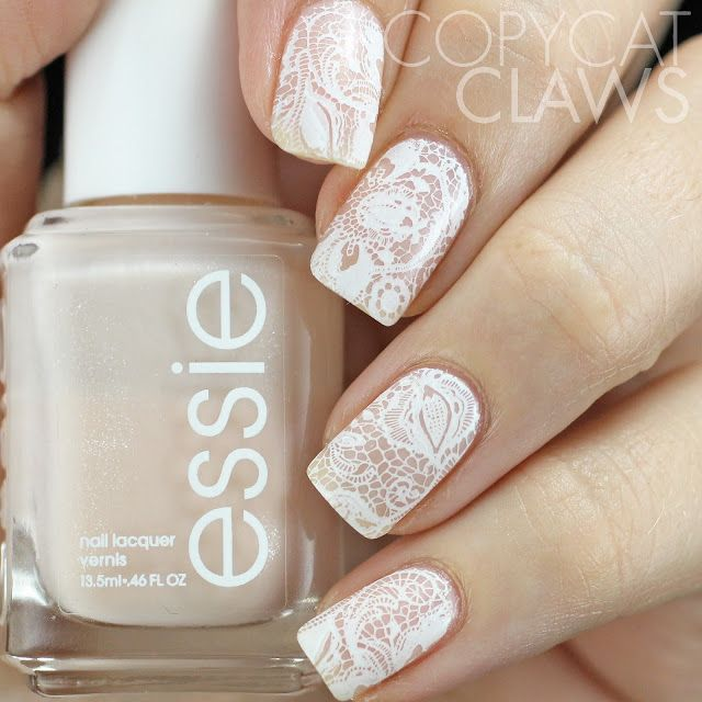 Copycat Claws: UberChic Beauty Love and Marriage -01 Stamping Plate Review - lace nail ideas!!