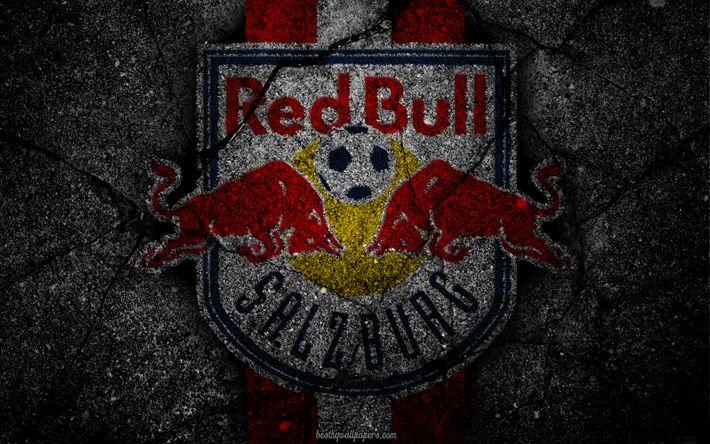Herunterladen hintergrundbild salzburg, logo, kunst, österreichische bundesliga, fussball, fußball-club, fc red bull salzburg, asphalt textur, red bull salzburg