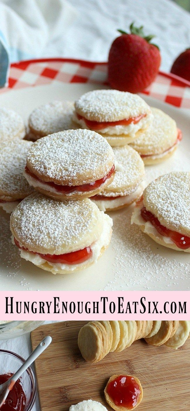 Sweet Lemon Strawberry Sandwich Cookies! Rich and simple homemade shortbread cookies hold a sweet filling of lemon buttercream and strawberry jam.