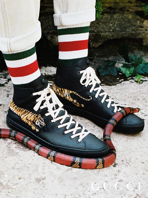 Presenting gifts from the Gucci Garden. Snake and stripes: the leather sneaker embellished with embroidered tigers worn with Web striped socks by Alessandro Michele.