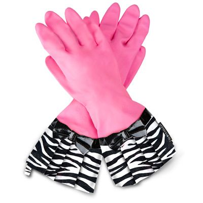 cleaning gloves. makes life a little brighter....: Gloveabl Fashion, Fashion Kitchens, Clean Gloves, Pink Zebras, Kitchens Gloves, Black Bows, Aprons, Zebras Gloves, Zebras Prints