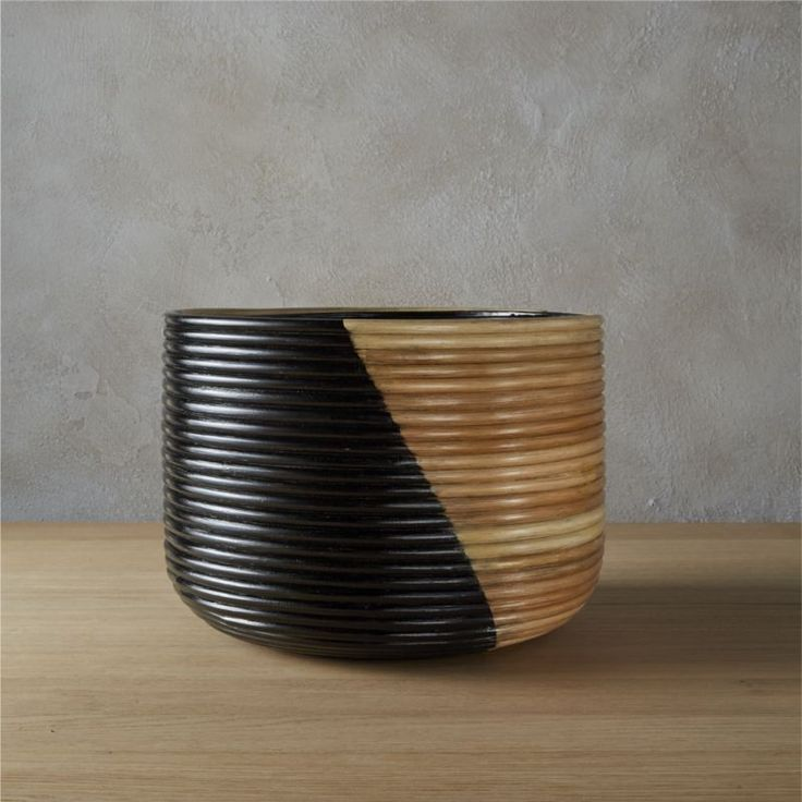 basket large black planter | CB2
