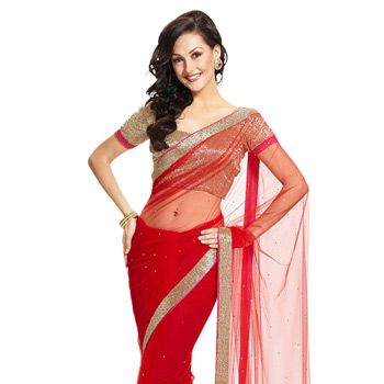 #Red #NetSaree