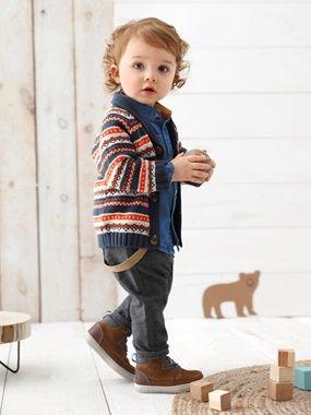 Conjunto para bebé niño de camisa chambray + pantalón a rayas con tirantes - vertbaudet enfant