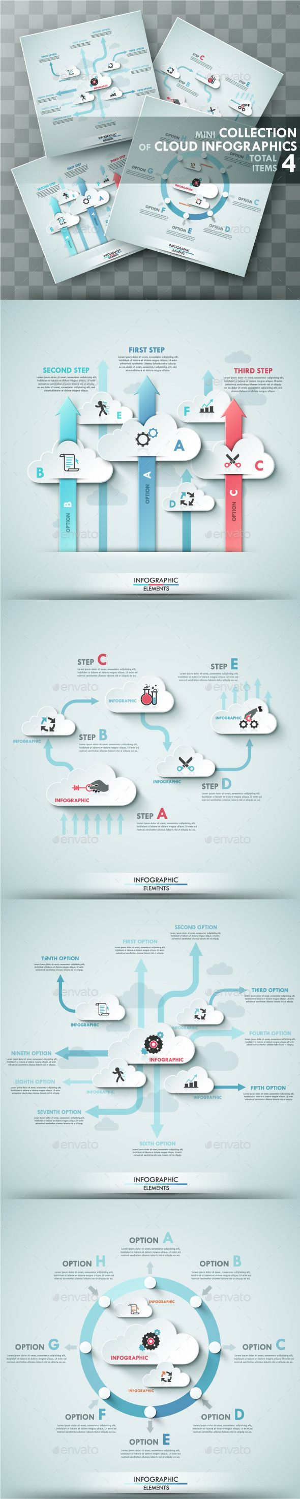 Set of 4 Infographic Templates With Clouds #design Download: http://graphicriver.net/item/set-of-4-infographic-templates-with-clouds/9789686?ref=ksioks