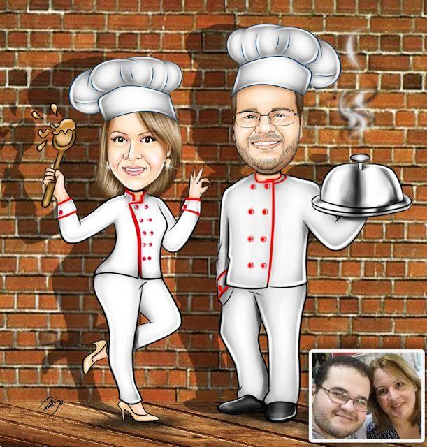 Caricaturas digitais, desenhos animados, ilustração, caricatura realista: Desenho de chef de cozinha !!