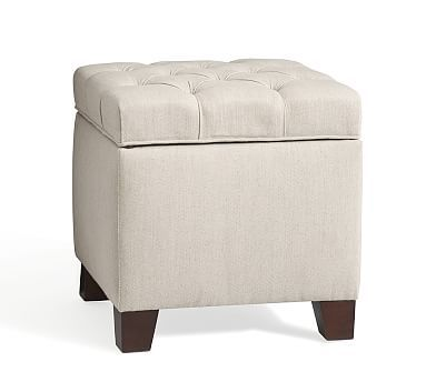 Perfect Lorraine Upholstered Cube, Polyester, Performance Everydaysuede(TM) Nutmeg