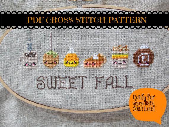 Thanksgiving Cross Stitch PDF - Cute Kawaii Cross Stitch
