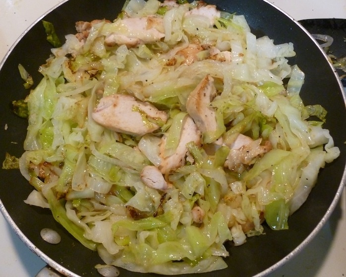 Cabbage and onions sauteed in coconut oil with chunks o'grilled ...
