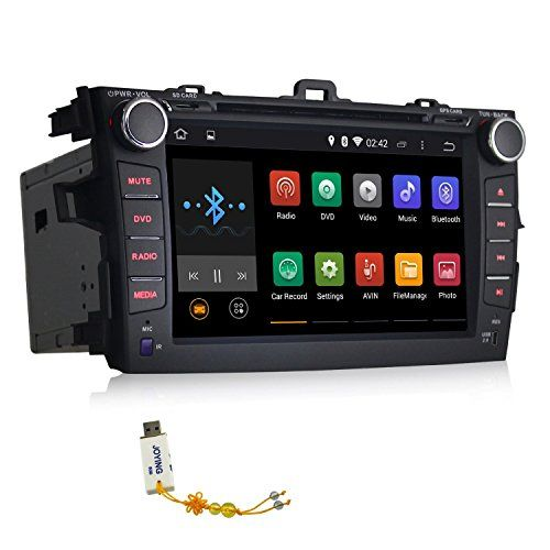 JOYING 8 Inch Quad Core Car Stereo Android Head Unit for Toyota Corolla 2007 2008 2009 2010 2011 2012 2013 in Dash Hd 1024*600 Capacitive Multi-touch Screen Car DVD Player Fm/am Radio GPS Navigation