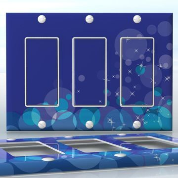 DIY Do It Yourself Home Decor - Easy to apply wall plate wraps | Midnight in Bubble land  Blue and white bubbles and sparkles  wallplate skin sticker for 3 Gang Decora LightSwitch | On SALE now only $5.95