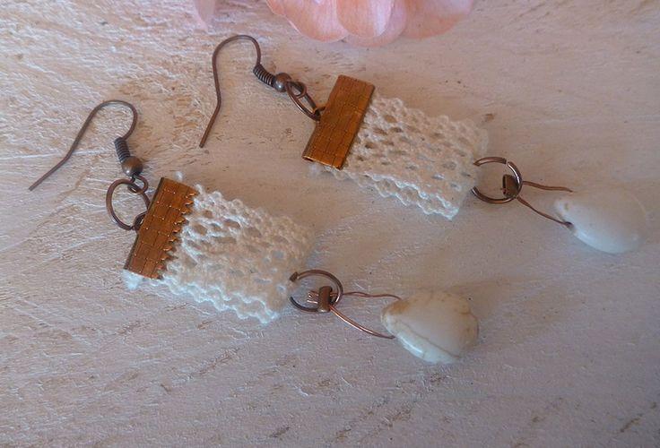Σκουλαρίκια με δαντέλα και χαολίτη