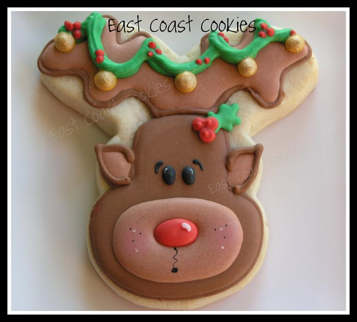 Large Rudolph Cookie | by Coastal Cookie Shoppe (was east coast cookies)