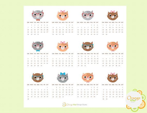 2018 Mini Calendar Stickers Cat Themed 2018 Mini Monthly