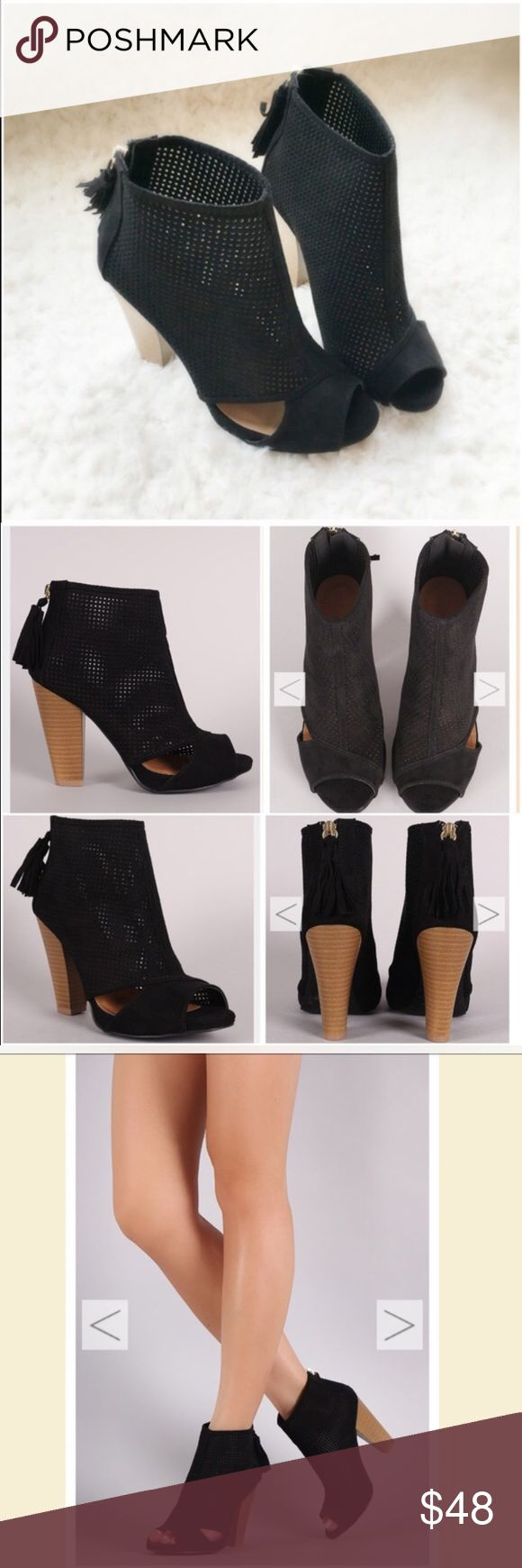 """NIB Black Caged/Cut Out Peep Toe Ankle Booties NIB Black Cut-Out Ankle Booties. These versatile booties feature a perforated vegan suede with side cut-outs, peep toe, and a chunky stacked heel. Tassel pull on a gold back-zip closure at the heel. Lightly padded insole, approx 4"""" heel. FITS TRUE TO SIZE. Available in 5.5, 6, 6.5, 7, 7.5, 8, 8.5, 9, 10. No Trades and No PaypalPrice is firm unless bundled, also available in taupe color, see my closet for taupe listing. Will not be restocked…"""